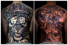 Black&grey tattoo on whole back. Done in 2014. By Wonderland tattoo studio Phuket Thailand. For appointment or design tattoo please contact >> www.facebook.com/wonderland.tattoo.phuket >> Email:wonderlandtattoo86@gmail.com >> IG:wonderlandtattoo_phuket #Thailand #Thailandtattoo #Phuket #Phukettattoo #Patong #Patongtattoo #Tattoo #Tattoos #Tiger