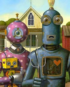 "A new kind of family portrait - clever idea. Robot version of ""American Gothic"" painted by Geoffrey Gersten - from Faith is Torment Grant Wood, American Gothic Painting, American Gothic Parody, Arte Robot, Robot Art, Fantasy Kunst, Fantasy Art, Steampunk Robots, Art Grants"