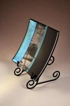 Black and Turquoise Fused Glass Plate by Krenzin11 on Etsy, $80.00