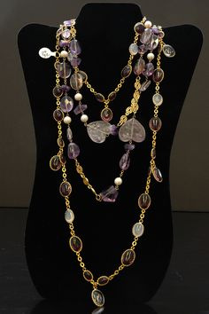 Vintage Chanel Necklace with Pearls and Lilac Gripoix Disks