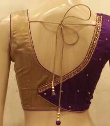 Buy Purple Rawsilk and golden handwork blouse sleeveless-blouse online