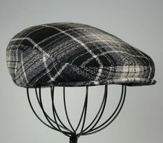 d239344adbc Men s Wool Hat - Golf Cap in Black Grey   Ivory Plaid Flat Jeff Cap