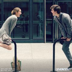 Shailene and Ansel goofing off on set, sibling style. | Divergent