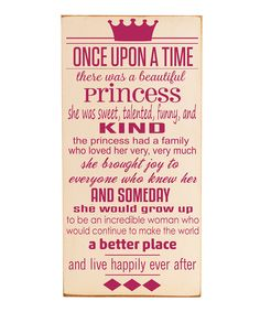 'Once Upon a Time' Plaque I hate princess stuff but thought this was cute