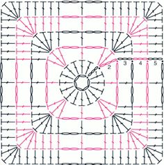Gráficos de crochê para fazer quadrados