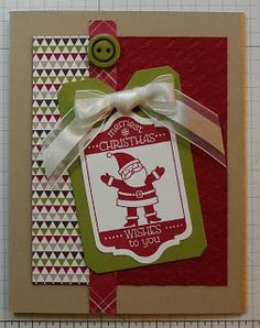 SU! Tag It stamp set; Season of Style DSP; colors are Cherry Cobbler, Old Olive and Crumb Cake - Carole Parsons
