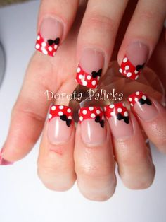 Ideas Nails Shellac Disney French Manicures For 2019 Shellac Nails, Red Nails, Hair And Nails, Gel Manicure, Minnie Mouse Nails, Mickey Nails, French Pedicure, French Nails, French Manicures
