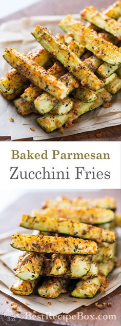 Once you try this Parmesan baked zucchini fries recipe you will be instantly hooked Zucchini Pommes, Parmesan Zucchini Fries, Low Carb Zucchini Fries, Bake Zucchini, Recipe Zucchini, Zuccini Bake, Baked Zuchinni Recipes, Recipes With Zucchini, Cooking Zucchini