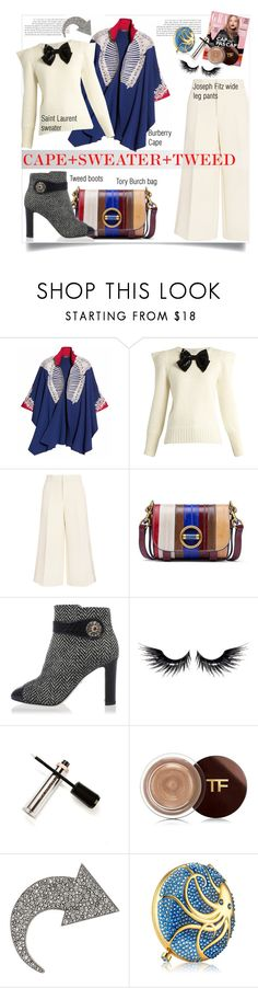 """Cape+tweed"" by theglossyspace ❤ liked on Polyvore featuring Burberry, Yves Saint Laurent, Joseph, Tory Burch, Dolce&Gabbana, MAKE UP FOR EVER, M2BEAUTÉ, Sonia Rykiel, Estée Lauder and polyvoreeditorai"