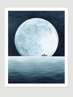 Original indigo watercolor painting nautical sea wall by VApinx