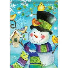 This fun snowman house flag illustrates high fashion (for snowmen that is). The beautiful, bright purple, blue and lime green of the snowman's scarf acts as the focal compliment to this busy scene. Th