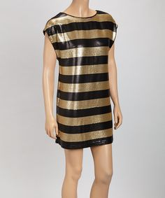 Take a look at this Oleg Cassini Black & Gold Stripe Shift Dress - Women on zulily today!