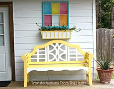old painted window, planter box, and bench