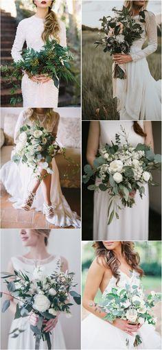 Greenery eucalyptus wedding bouquets #green #wedding #weddingideas #dpf #deerpearlflowers