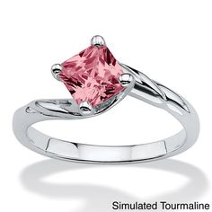 Palm Beach Jewelry PalmBeach Princess-Cut Birthstone Twist Ring in Sterling Silver Color Fun (Size