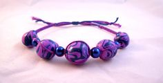 Hippy Boho Chic Purple Blue Berry Beaded Micro Macrame Friendship Bracelet by HeartMesaGifts