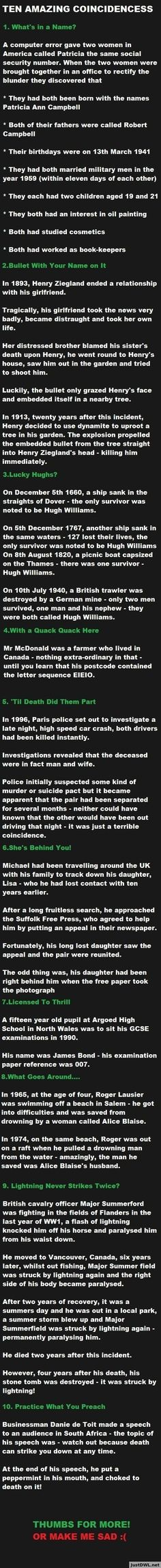 10 Amazing Coincidences