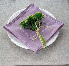 LINEN Napkin  LILAC hemstiched linen Napkin Set of by LinumStudio, $18.00