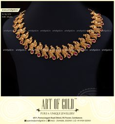 Light Weight Gold Peacock Necklace with Kemp Stones. Find more Peacock themed gold jewels in our website. Gold Bangles Design, Gold Earrings Designs, Gold Jewellery Design, Fashion Jewellery, Fashion Necklace, Gold Temple Jewellery, Gold Wedding Jewelry, Jewellery Box, Jewelery