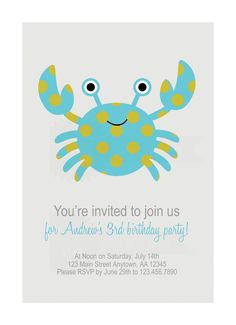 Classic Crab Birthday Party Invitation. $10.00, via Etsy.