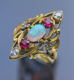 ART NOUVEAU  Ring ~ Gold Opal Ruby Diamond ~ French, c.1900: