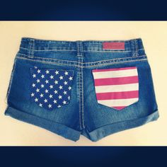Made these! Just bought a cheep pair of demon shorts blue and white star and red and white stripe fabric and then iron on them onto the shorts. So easy and just in time for the #forthofjuly !