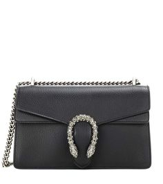 Dionysus Small black leather shoulder bag by Gucci