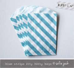 Blue  Diagonal Stripe  Mini Favor Bags  10 by sofiejack on Etsy, $2.50