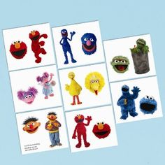 Sesame Street Tattoos - Party Supplies - 32 per Pack Elmo Party Supplies, Sesame Street Party Supplies, Birthday Supplies, Elmo Birthday, Birthday Party Themes, Birthday Ideas, Street Tattoos, Party Favors For Adults, Party Favours