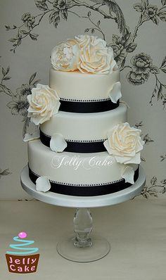 Black and Ivory Wedding Cake but could use diff to ribbon color