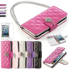 For iPod Touch 5 5th Gen Wallet Leather Hard Cover Case Pouch + Screen Protector