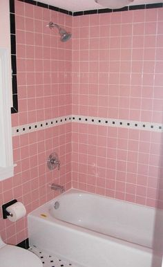 Save the Pink Bathroom Awesome Pink 70 W Mid Century Clay Squared Decorative Tiles Clay Retro Bathrooms, Bathroom Red, Modern Master Bathroom, Minimalist Bathroom, Bathroom Colors, Small Bathroom, Bathroom Ideas, Bling Bathroom, Bathroom Hacks