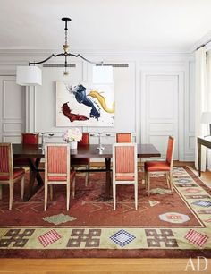 Gorgeous red dining room.
