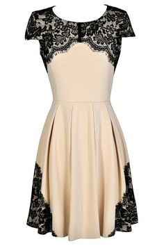 Trimmed In Lace Beige and Black A-Line Dress
