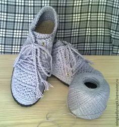 Купить Мокасины женские вязаные - серый, обувь ручной работы, обувь летняя, обувь для женщин