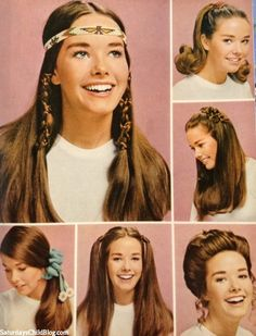 1970s hair fashions. Usually wore mine just long and straight parted in the middle or in two braids or one long braid down the back..