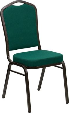 HERCULES Series Crown Back Stacking Banquet Chair with Green Fabric and 2.5''…