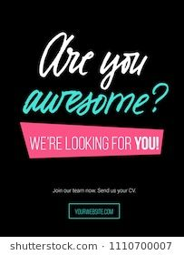 """Hiring poster design concept with pink, white, blue colors and black background. lettering inscription """"are you awesome"""" Business hiring and recruiting template. Web Design Jobs, Online Web Design, Web Design Quotes, Modern Web Design, Creative Web Design, Web Design Agency, Web Design Trends, Web Design Company, Hiring Poster"""