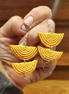 Sunny micromacrame earrings yellow half-circles dangling with silver tear drop