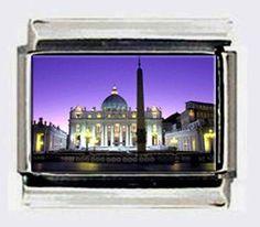 THE VATICAN ROME ITALY NIGHT 9mm PHOTO ITALIAN CHARM for modular link bracelets #Handmade #ItalianModular