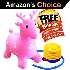Kids' Stick Horses - ToysOpoly Inflatable Bouncer Seat  Best for Physical Therapy Increase Balance and Agility EcoFriendly  Free Foot Pump Easy to Inflate Pink >>> Learn more by visiting the image link.