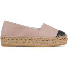 Kg Kurt Geiger Espadrilles ($145) ❤ liked on Polyvore featuring shoes, sandals, skin color, espadrilles shoes, flat espadrilles, leather espadrilles, espadrille sandals and flat leather sandals
