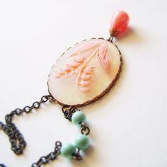 Floral Cameo Necklace Vintage Peach Aqua Etsy