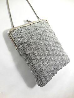 Silver Vintage clutch. Original 1960. Little nice silver handbag with  chain. Vintage handbag  purse. French Vintage 39ac91e57e9c4
