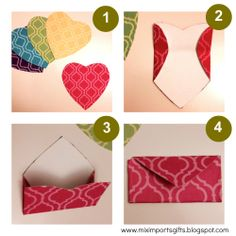 Valentines DIY mini heart envelopes.