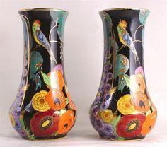 30 Pair OF Carlton Ware 8 25 Inch Vases Nightingale Pattern Roseville Pottery, Ceramic Pottery, Pottery Art, Carlton Ware, Royal Crown Derby, Antique Perfume Bottles, Glass Ceramic, Ceramic Art, Japanese Porcelain