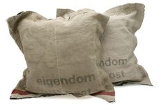 floor pillows from vintage postal bags  @stapelgoed