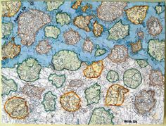 """"""" Francesca Berrini: 'With Us Or Against Us', torn map collage on canvas, 12 x 9 in. (via Strange Maps) """""""