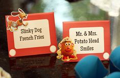 Pizza Planet Mini Pizzas  To Infinity and Beyond Fruit Rockets  Slinky Dog Curly Fries  Mr. & Mrs. Potato Head Smiles (happy face fries)  Ooohhh….Mystic Portal Popcorn (french fry box pattern)  Woody's Best Water in the West  Jessie's Jumpin' Juice