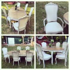 Upholstered Cane Back Captains Chairs, Painted Grey And White, Glazed,  Provincial And Classic Grey Minwax Stain On Table Top, White And Brown  Glaze On The ...